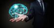 Leinwanddruck Bild - Businessman holding human brain on his hand with logistics symbols around