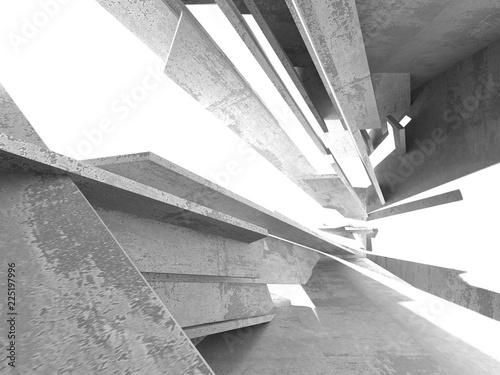Leinwandbild Motiv Dark concrete empty room. Modern architecture design