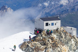 The view of the Mont Blanc summit and of the Refuge Bivouac Vallot Hut