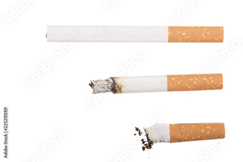 Leinwanddruck Bild cigarette isolated on white background. Top view