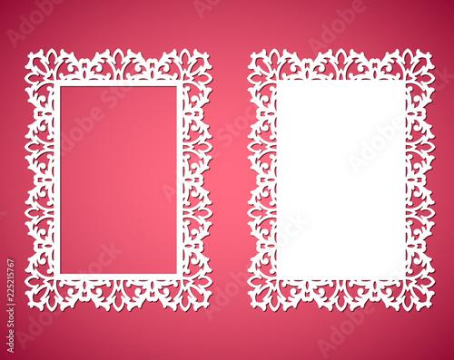 laser cut paper lace frames vector illustration ornamental cutout