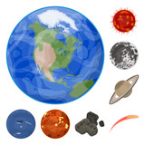 Planets of the solar system cartoon icons in set collection for design. Cosmos and astronomy vector symbol stock web illustration.