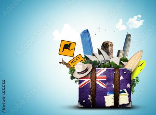 Australia, retro suitcase with hat and attractions Australia