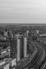 The hague city skyline viewpoint black and white, Netherlands