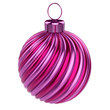 bauble Christmas ball decoration striped violet pink. New Year's Eve hanging decor adornment traditional, Merry Xmas wintertime ornament. 3d rendering