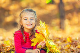 Happy little girl with autumn leaves in the park - 225249117