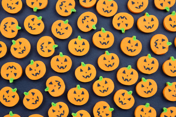 Halloween pumpkins Jack o lantern seamless background