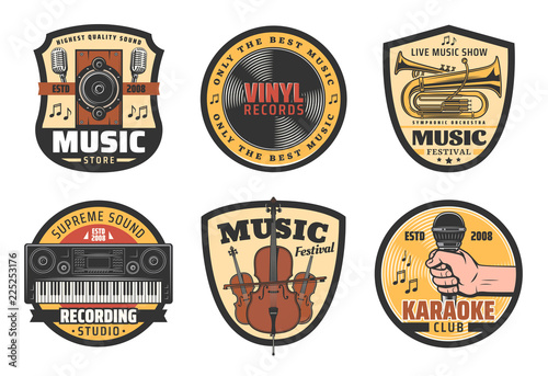 Vector icons of music instruments