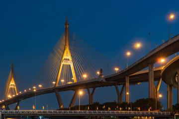Bhumibol Bridge At twilight.