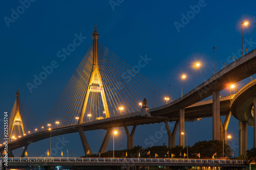 Bhumibol Bridge At twilight.