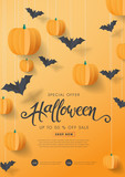 Happy Halloween calligraphy with paper bats and pumpkins. banners party invitation.Vector illustration. - 225257702
