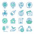 Ecology flat line icon set. Vector illustration. Editable stroke.