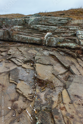 Sedimentary rocks. The field of the natural stone used in construction and wall finishing - 225268324
