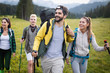 Leinwandbild Motiv Trek Hiking Destination Experience Adventure Happy Lifestyle Concept