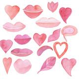 Акварель романтическая коллекция сердце, губы, улыбка розовые - 225273987