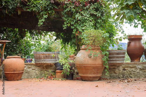 Different types of flower pots in a small village of medieval origin. Volpaia, Tuscany, Italy