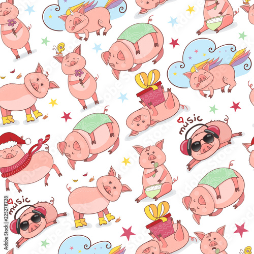 Seamless pattern with Funny Piggy symbol 2019 new year in doodle style. Piglet listens to music, eats, sleeps, holds a gift, in a Christmas hat.