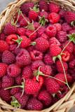 fresh raspberries in a basket