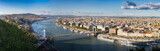 Panoramic look down from Gellert hill to castle hill, Danube river with parliament building, Elisabeth Bridge and Chain Bridge in Budapest, Hungary