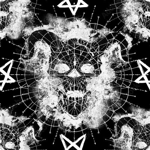 seamless pattern with evil demon skull and pentagram on black death