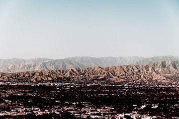 Aerial view of cityscape of downtown Los Angeles, California in color infrared © CoolimagesCo