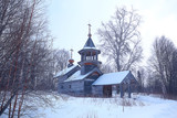 landscape in russian kizhi church winter view / winter season snowfall in landscape with church architecture - 225303362