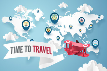 Paper art of red plane above world map and landmark pin, travel and explore concept