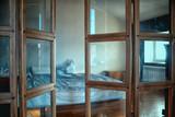 interior house, partition glass door / inside loft bulkhead interior - 225306560