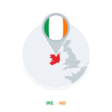 Ireland map and flag, vector map icon with highlighted Ireland