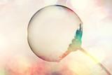 soap bubble petal / concept nature air purity, air bubble on a flower petal - 225309992