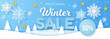 Winter sale banner. Origami snowfall. Vector Illustration.