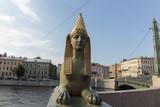 Sphinx of the Egyptian bridge over the Fontanka river. - 225321710