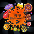 Halloween sweets colorful party background.
