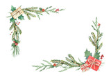 Watercolor Christmas wreath with fir branches and place for text. - 225328728