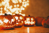 Decoration for Halloween scary pumpkin lanterns,real photo with copy space