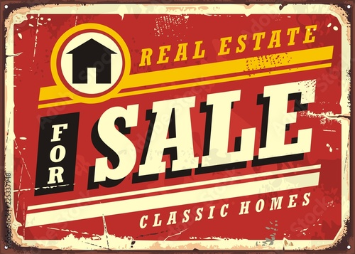 real estate for sale retro tin sign design layout homes buildings