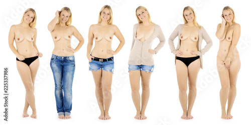 Beautiful blond girl as a photo collage from dressed to nude in the studio isolated on white