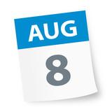 August 8 - Calendar Icon - 225338996