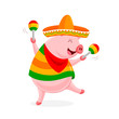 Funny cartoon pig characters with mexican costume and maracas. Vector illustration isolated on white background. - 225339940