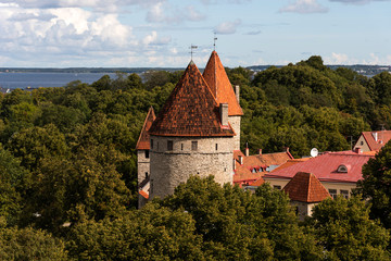Amazing panoramic view of the city wall and towers Old Town of Tallin, Estonia