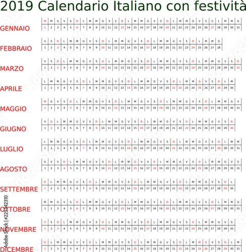 Calendario Giugno Luglio Agosto 2019.Calendario 2019 Italiano Con Festivita Buy Photos Ap