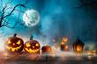 Halloween pumpkins on old wooden planks.