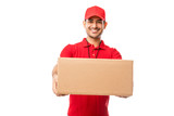 Handsome Young Man Wearing Red Uniform Delivering Package