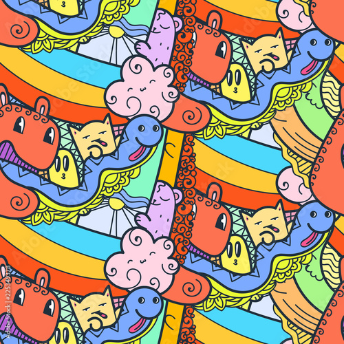 Funny doodle monsters seamless pattern for prints, designs and coloring books - 225349378