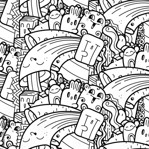 Funny doodle monsters seamless pattern for prints, designs and coloring books - 225349386