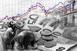 Bulle und Bär vor Geldscheinen und Börsenhintergrund