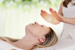 Leinwanddruck Bild - Woman having reiki healing treatment , alternative medicine concept.