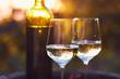 Quadro Two glasses of white wine at sunset