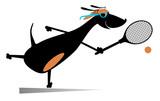 Dog playing tennis cartoon illustration. Cartoon dachshund a tennis player isolated on white illustration