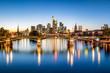 Leinwanddruck Bild - Frankfurt Skyline am Abend mit Ignatz-Bubis-Brücke und Main, Frankfurt am Main, Deutschland